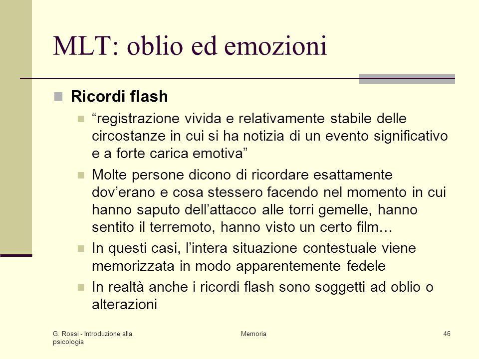 MLT: oblio ed emozioni Ricordi flash