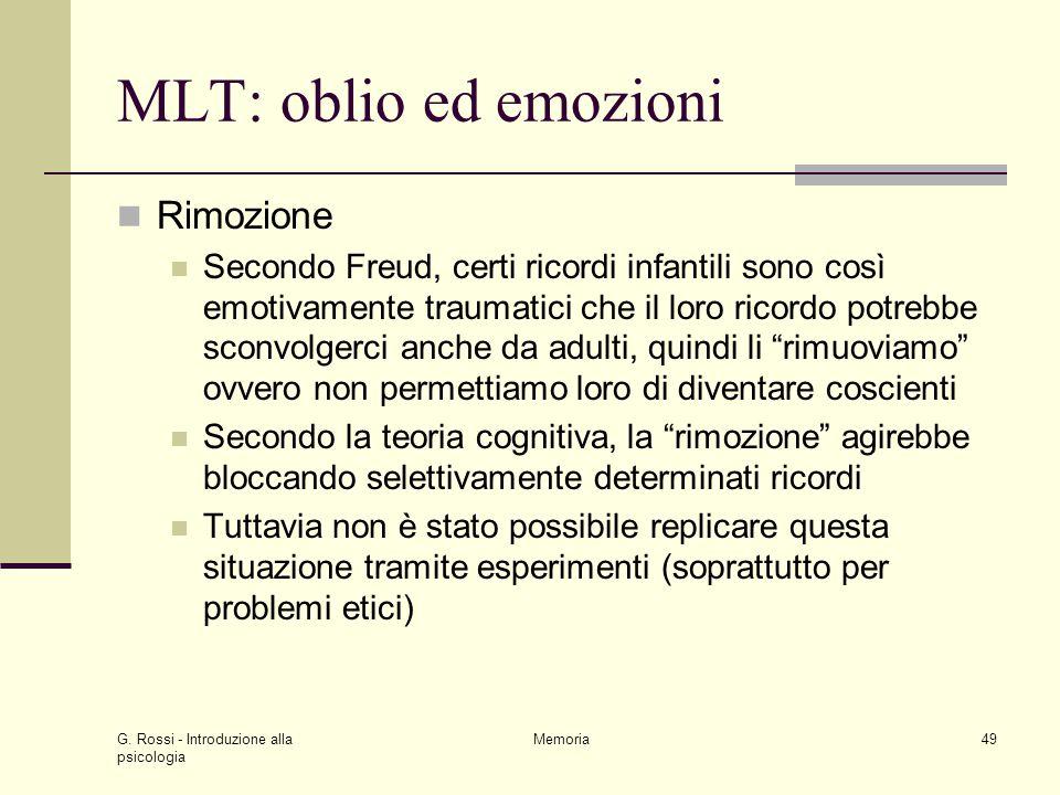 MLT: oblio ed emozioni Rimozione