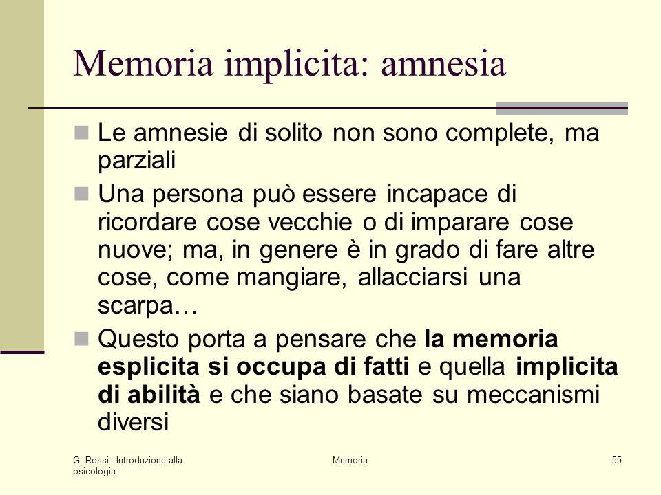 Memoria implicita: amnesia