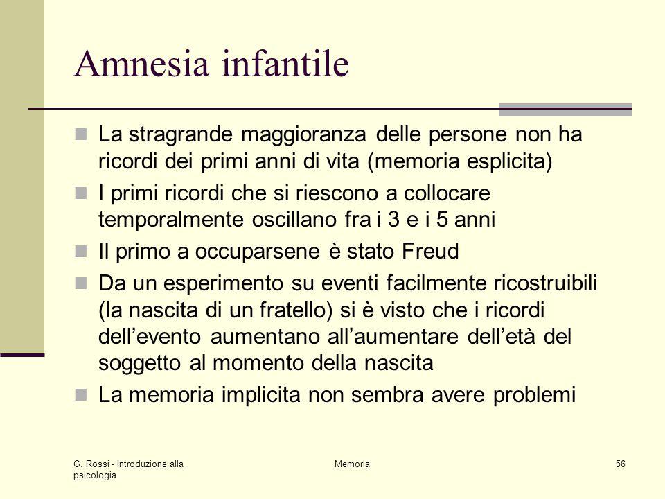 Amnesia infantile La stragrande maggioranza delle persone non ha ricordi dei primi anni di vita (memoria esplicita)