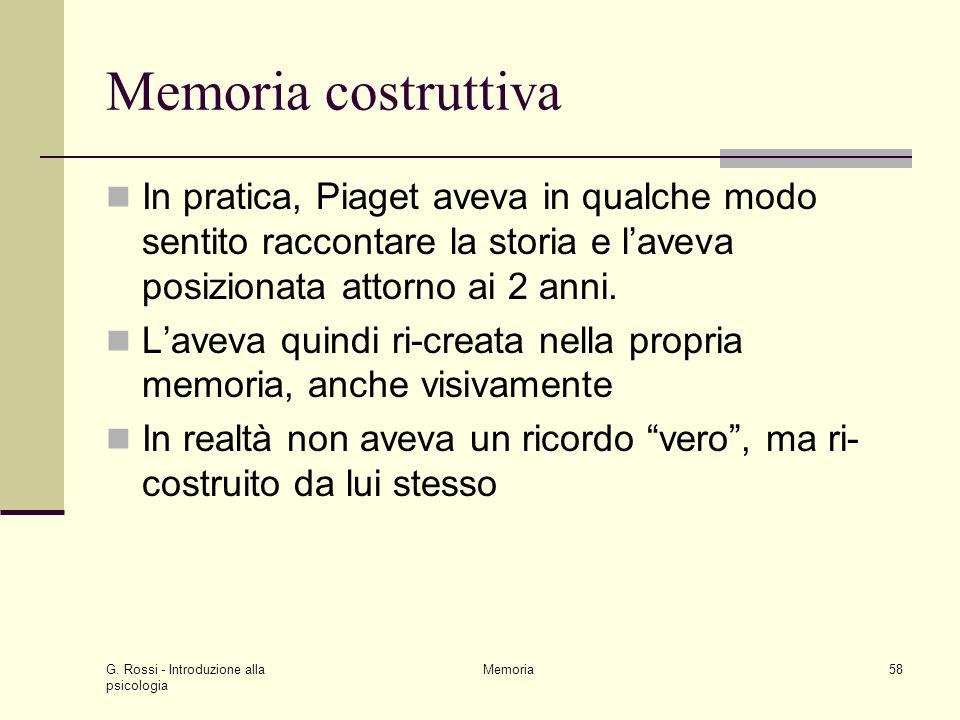Memoria costruttiva In pratica, Piaget aveva in qualche modo sentito raccontare la storia e l'aveva posizionata attorno ai 2 anni.