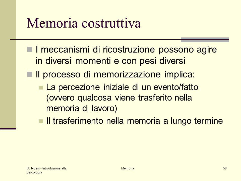 Memoria costruttiva I meccanismi di ricostruzione possono agire in diversi momenti e con pesi diversi.