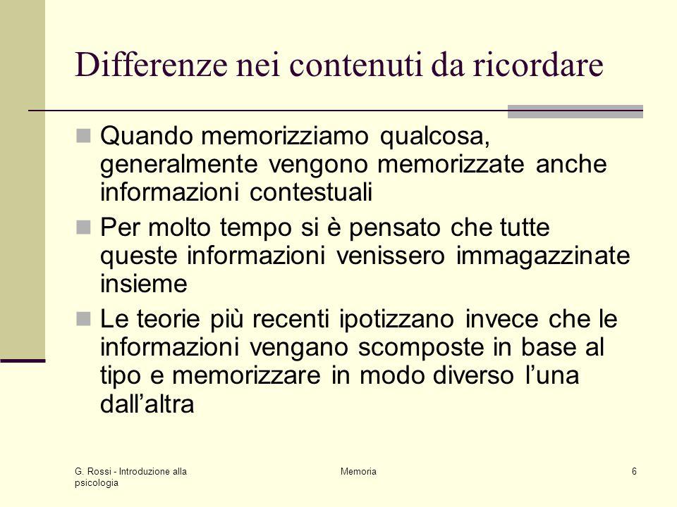 Differenze nei contenuti da ricordare