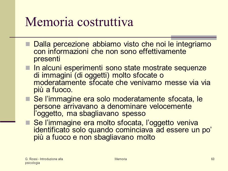 Memoria costruttiva Dalla percezione abbiamo visto che noi le integriamo con informazioni che non sono effettivamente presenti.