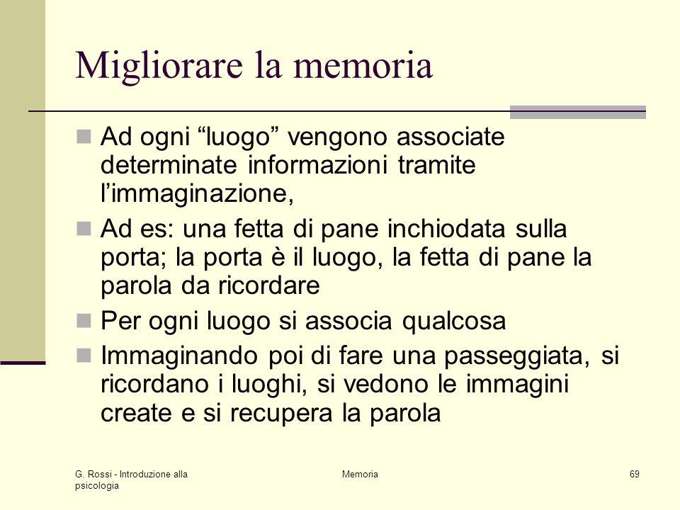 Migliorare la memoria Ad ogni luogo vengono associate determinate informazioni tramite l'immaginazione,