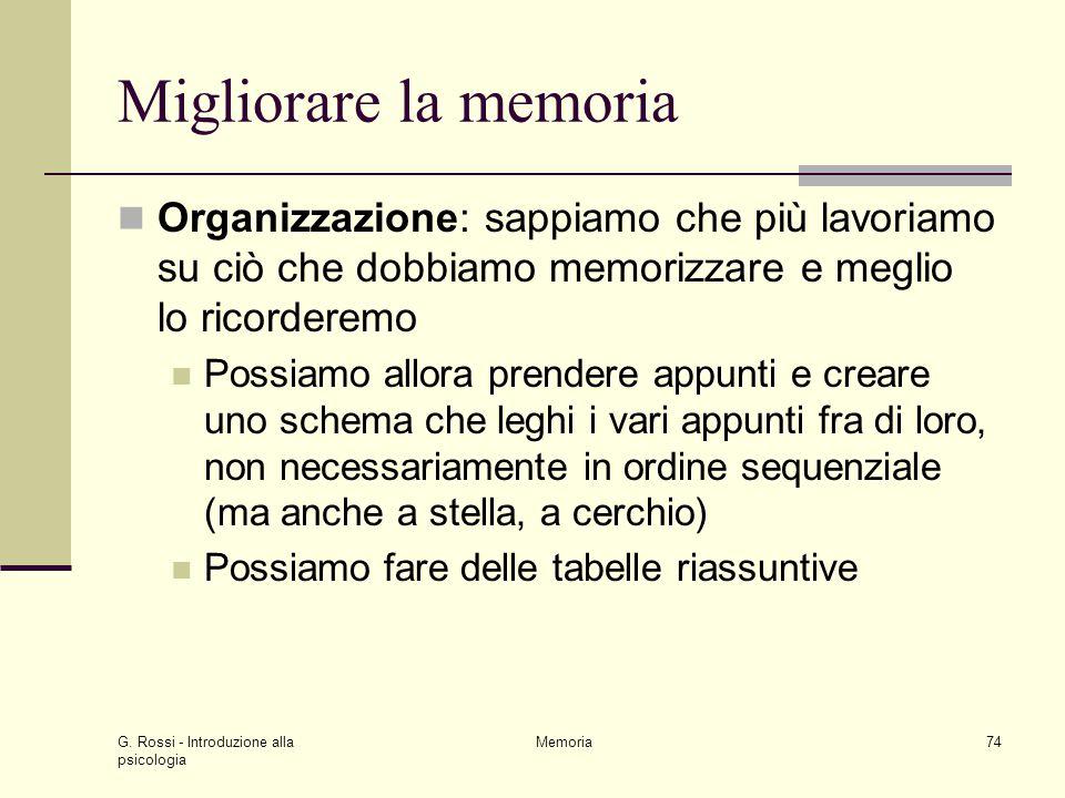 Migliorare la memoria Organizzazione: sappiamo che più lavoriamo su ciò che dobbiamo memorizzare e meglio lo ricorderemo.