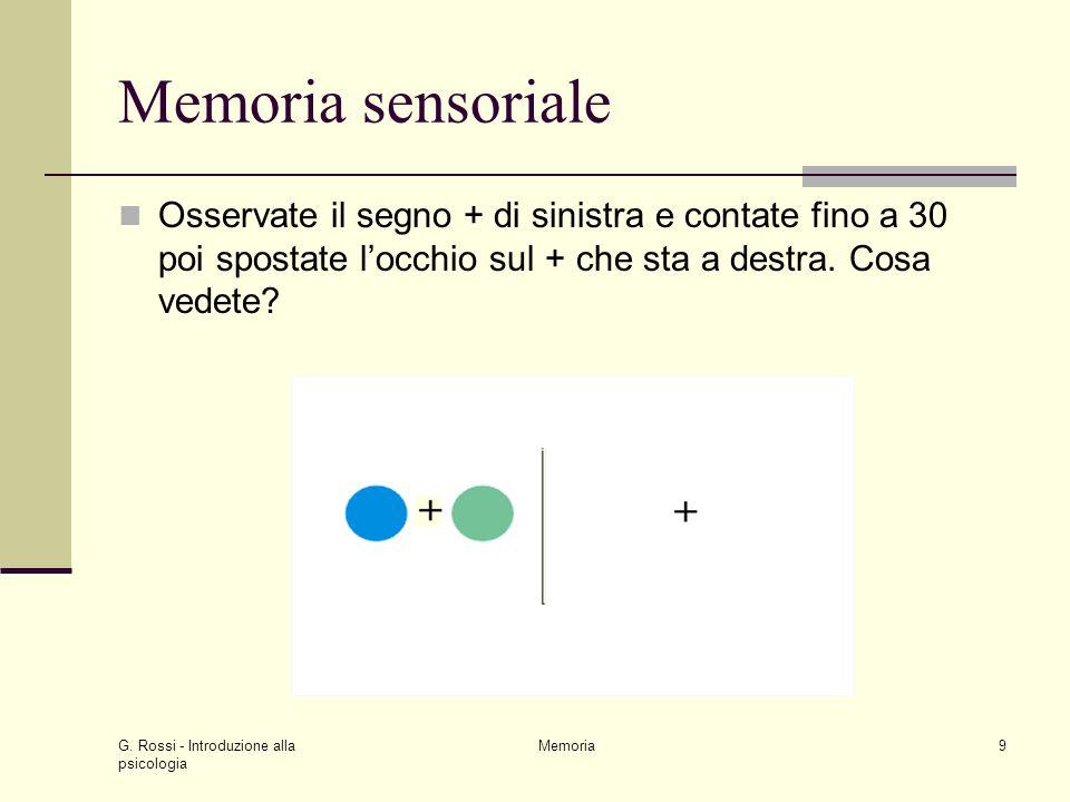 Memoria sensoriale Osservate il segno + di sinistra e contate fino a 30 poi spostate l'occhio sul + che sta a destra. Cosa vedete