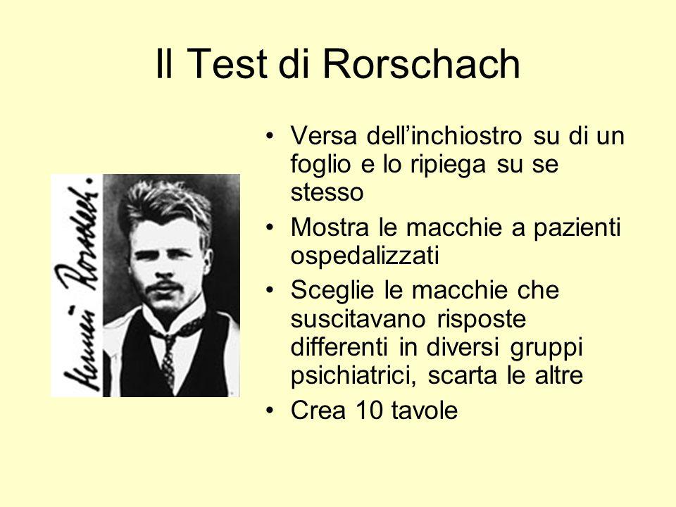 Il Test di Rorschach Versa dell'inchiostro su di un foglio e lo ripiega su se stesso. Mostra le macchie a pazienti ospedalizzati.