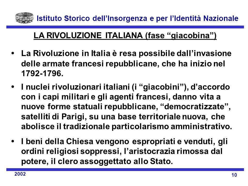 LA RIVOLUZIONE ITALIANA (fase giacobina )