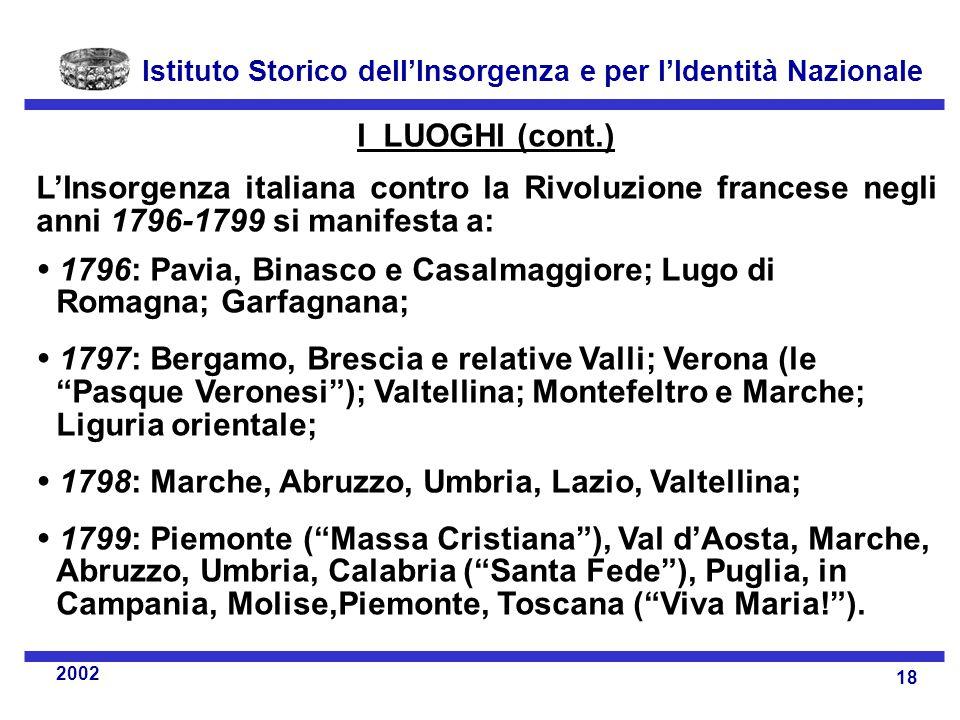 I LUOGHI (cont.) L'Insorgenza italiana contro la Rivoluzione francese negli anni 1796-1799 si manifesta a: