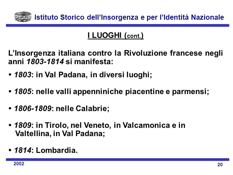 I LUOGHI (cont.) L'Insorgenza italiana contro la Rivoluzione francese negli anni 1803-1814 si manifesta: