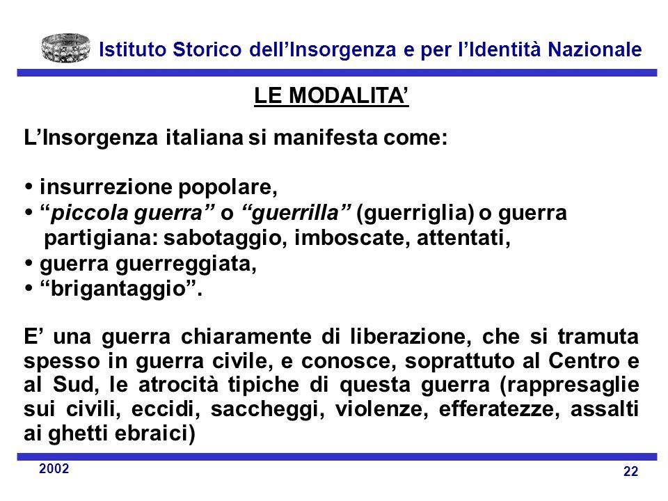 LE MODALITA' L'Insorgenza italiana si manifesta come:  insurrezione popolare,