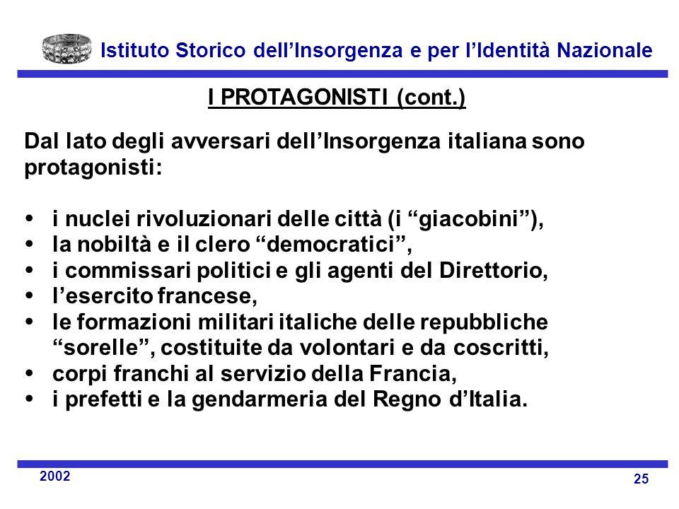 I PROTAGONISTI (cont.) Dal lato degli avversari dell'Insorgenza italiana sono protagonisti:  i nuclei rivoluzionari delle città (i giacobini ),