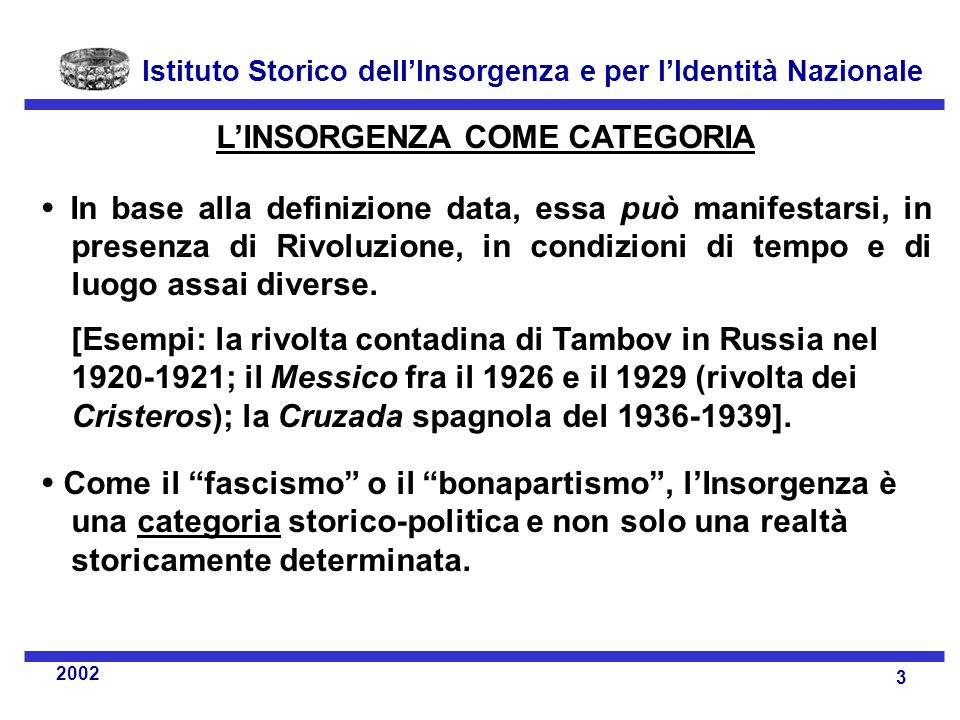 L'INSORGENZA COME CATEGORIA