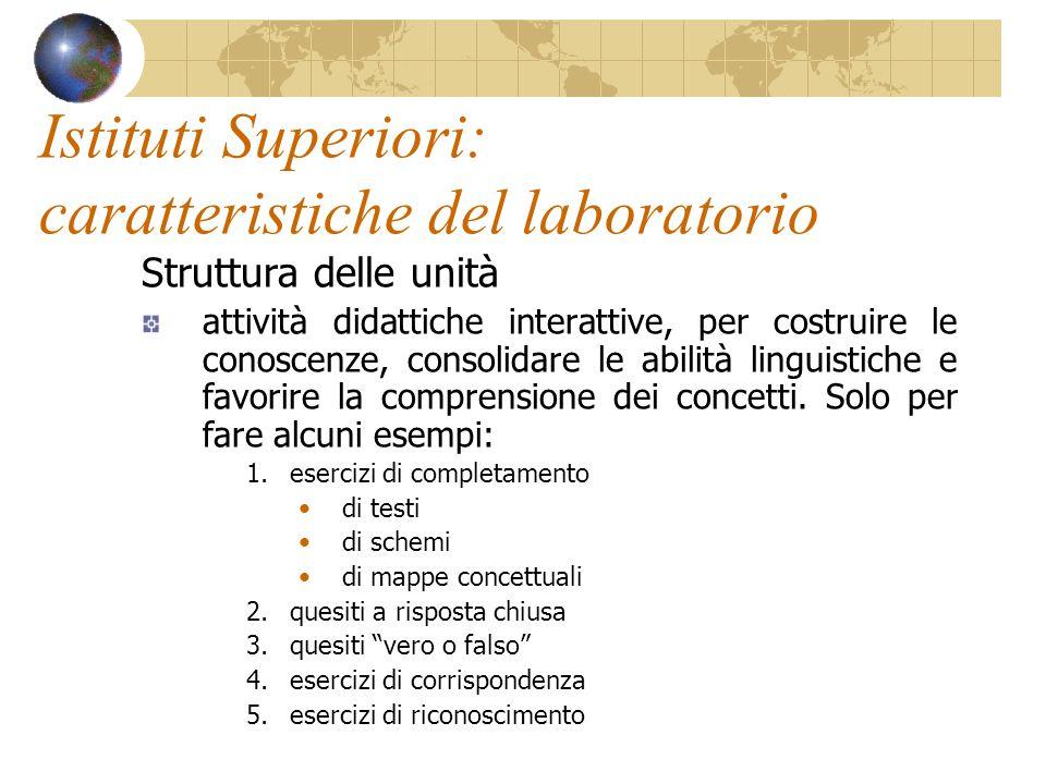 Istituti Superiori: caratteristiche del laboratorio