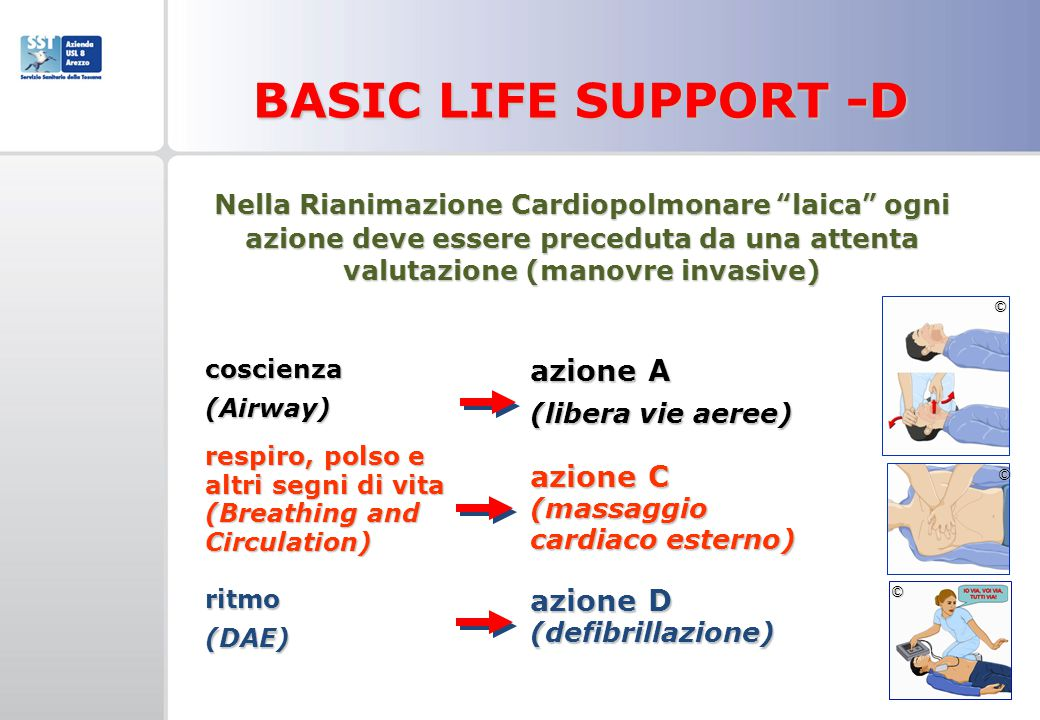 BASIC LIFE SUPPORT -D azione A azione C (massaggio cardiaco esterno)