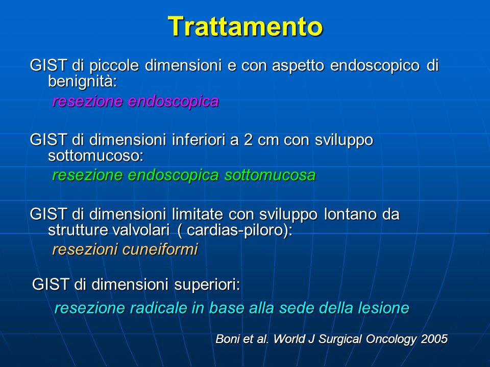 Trattamento GIST di piccole dimensioni e con aspetto endoscopico di benignità: resezione endoscopica.