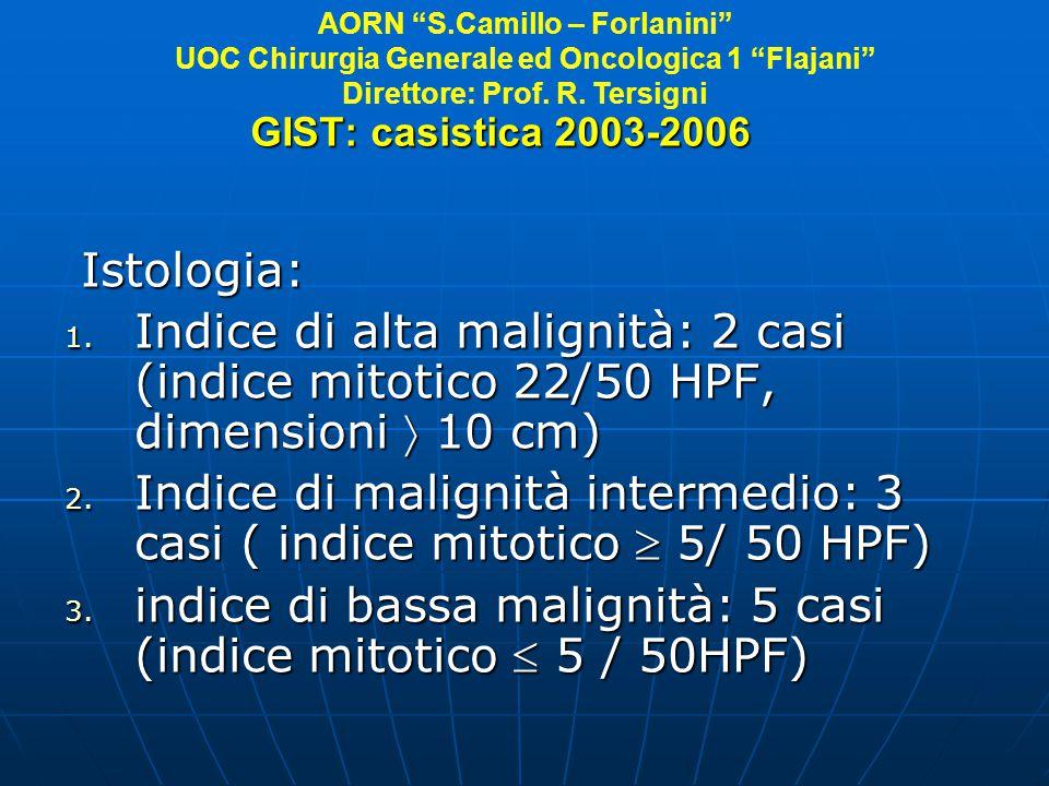 Indice di malignità intermedio: 3 casi ( indice mitotico  5/ 50 HPF)