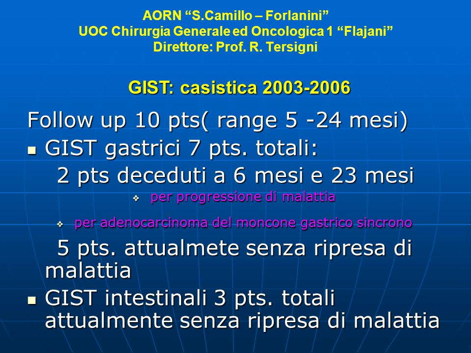Follow up 10 pts( range 5 -24 mesi) GIST gastrici 7 pts. totali: