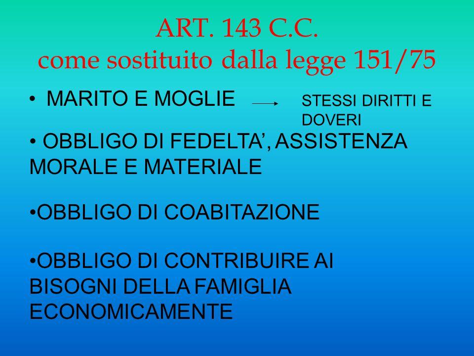 ART. 143 C.C. come sostituito dalla legge 151/75