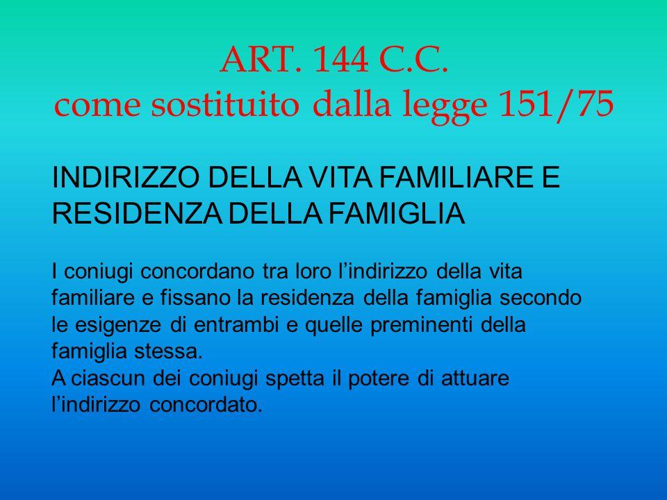 ART. 144 C.C. come sostituito dalla legge 151/75