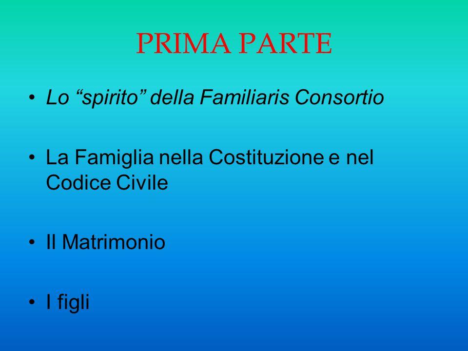 PRIMA PARTE Lo spirito della Familiaris Consortio
