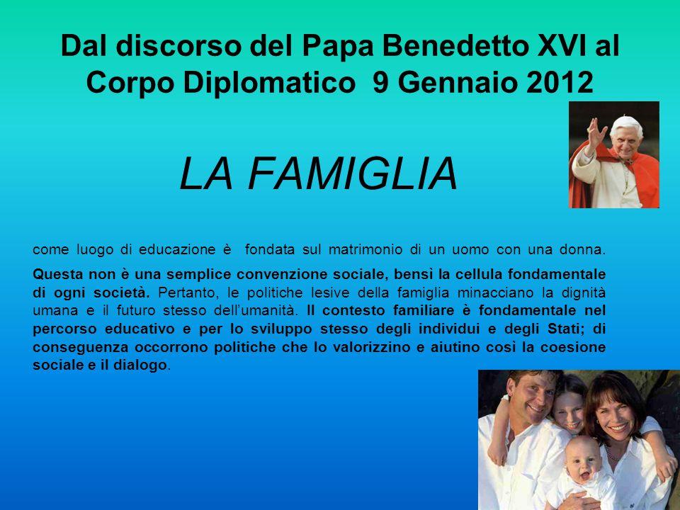 Dal discorso del Papa Benedetto XVI al Corpo Diplomatico 9 Gennaio 2012