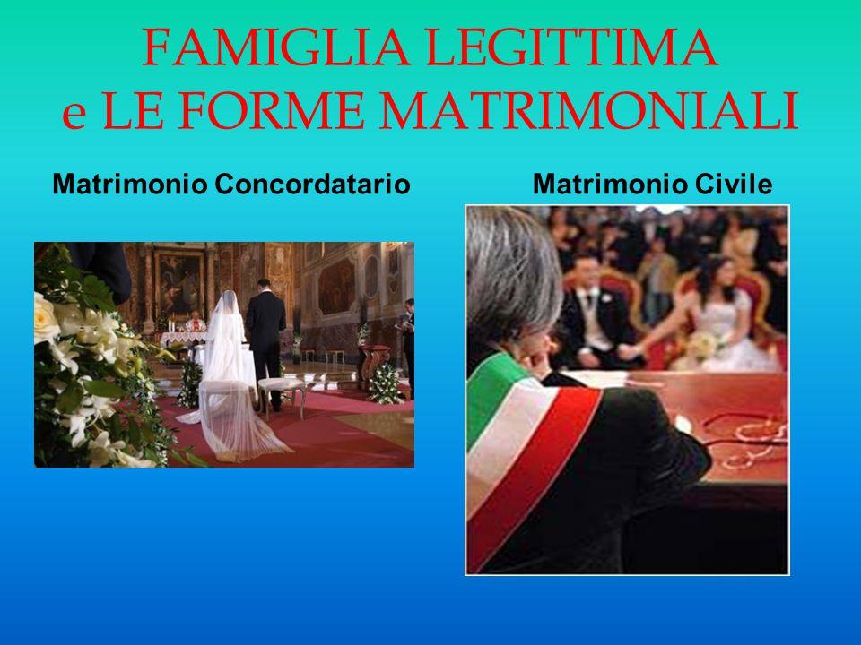 FAMIGLIA LEGITTIMA e LE FORME MATRIMONIALI