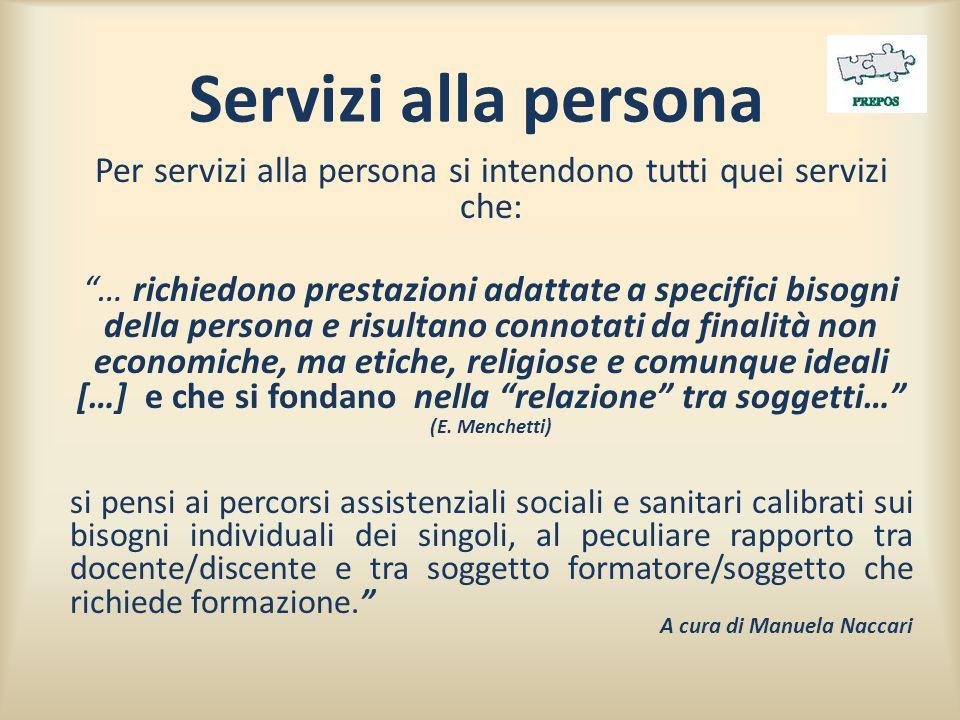 Per servizi alla persona si intendono tutti quei servizi che:
