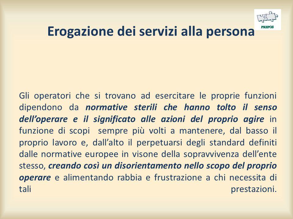 Erogazione dei servizi alla persona