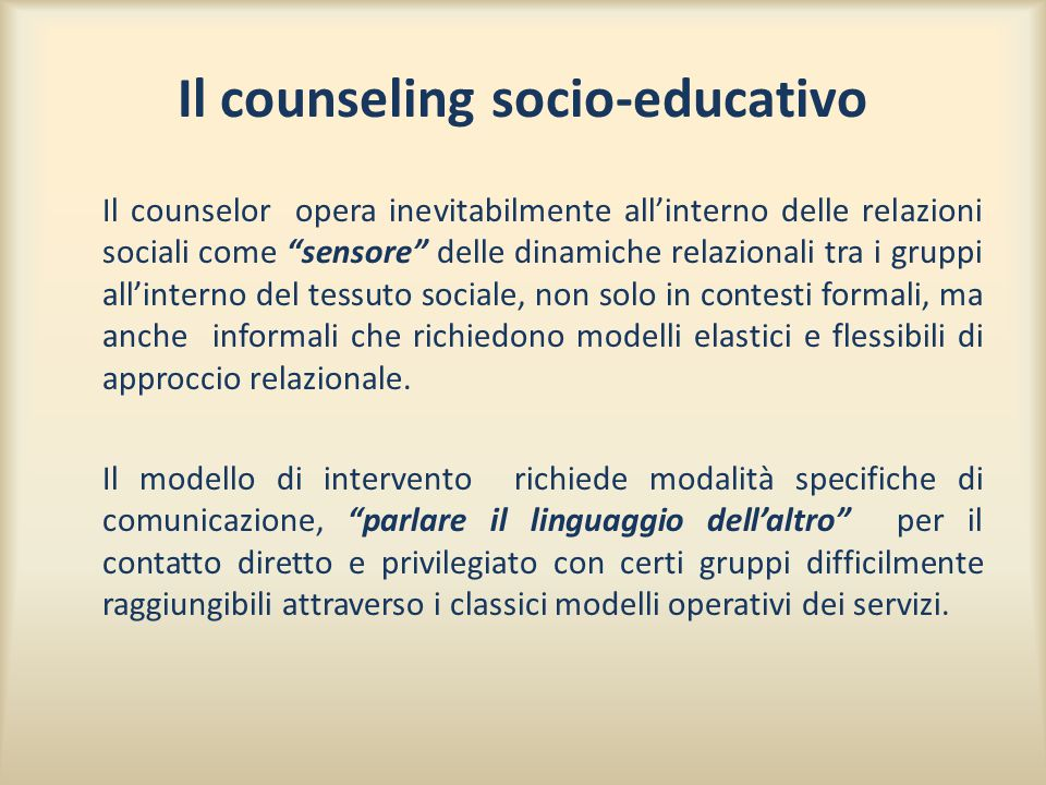 Il counseling socio-educativo
