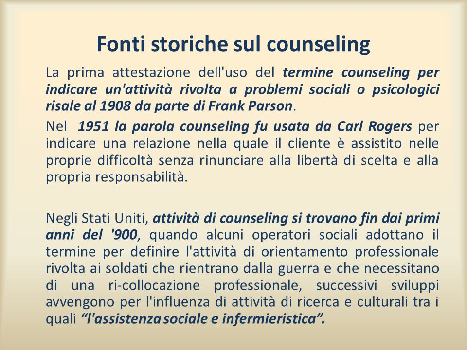 Fonti storiche sul counseling