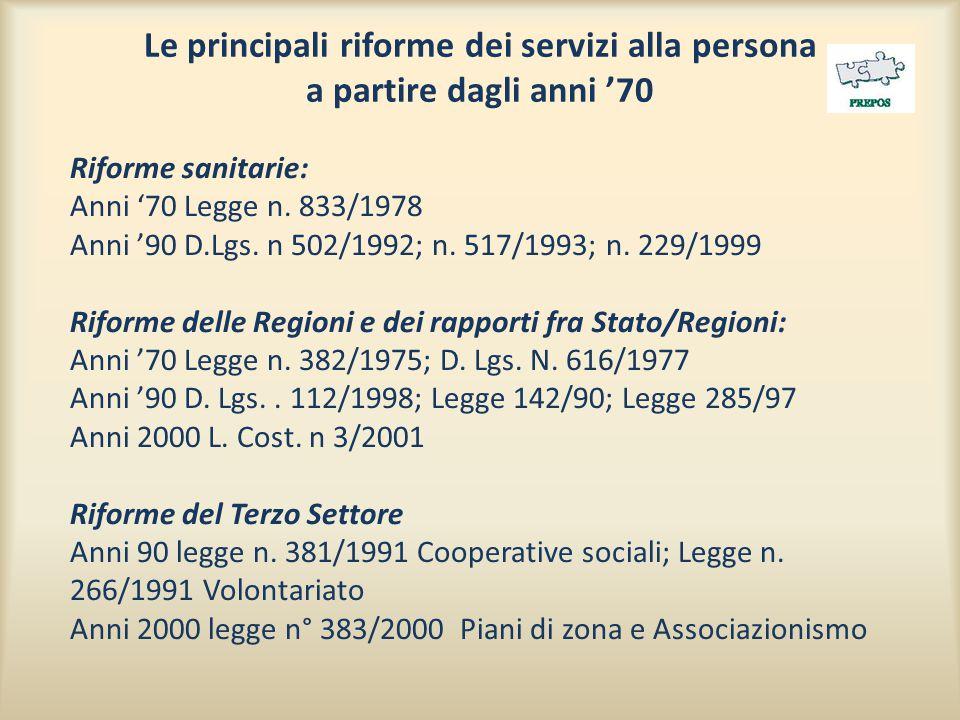 Le principali riforme dei servizi alla persona a partire dagli anni '70