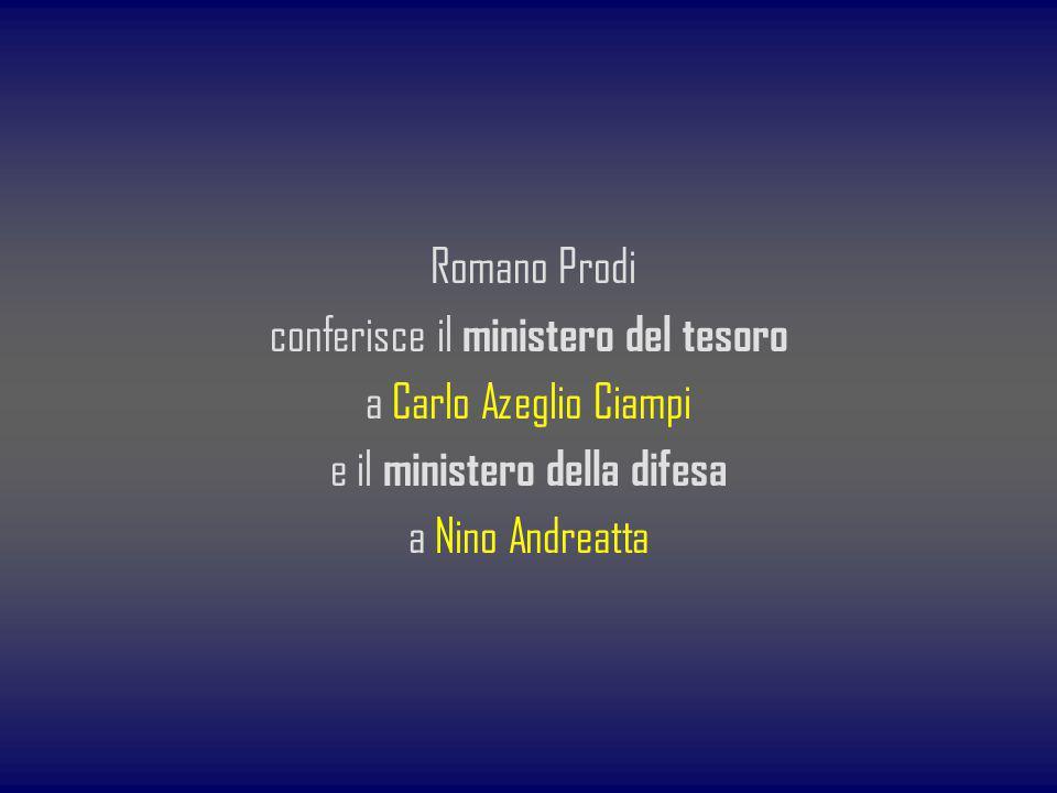 conferisce il ministero del tesoro a Carlo Azeglio Ciampi