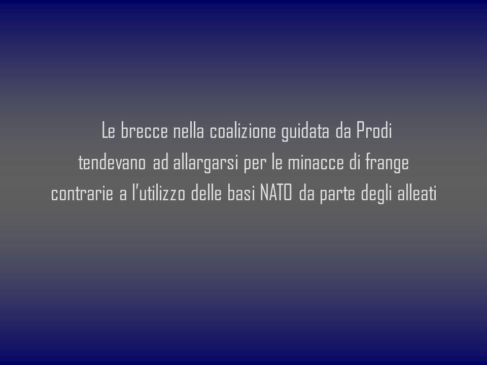 Le brecce nella coalizione guidata da Prodi tendevano ad allargarsi per le minacce di frange contrarie a l'utilizzo delle basi NATO da parte degli alleati