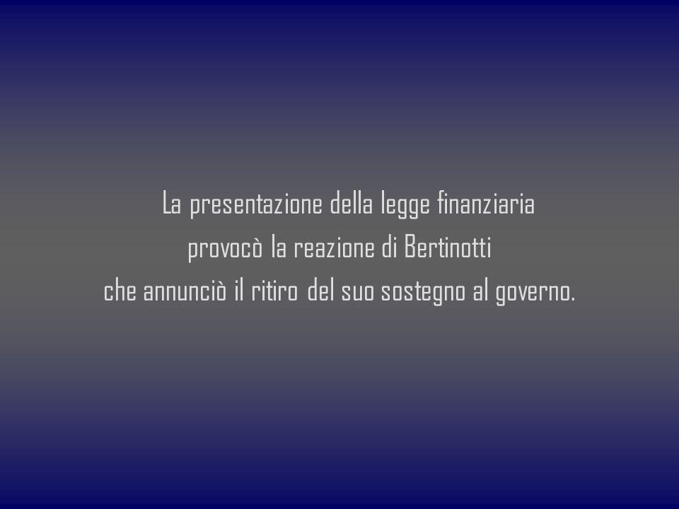 La presentazione della legge finanziaria provocò la reazione di Bertinotti che annunciò il ritiro del suo sostegno al governo.