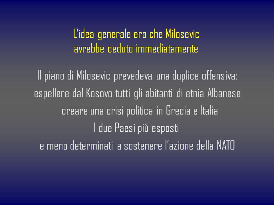 L'idea generale era che Milosevic avrebbe ceduto immediatamente