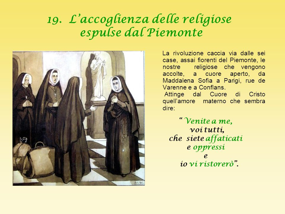 19. L'accoglienza delle religiose espulse dal Piemonte