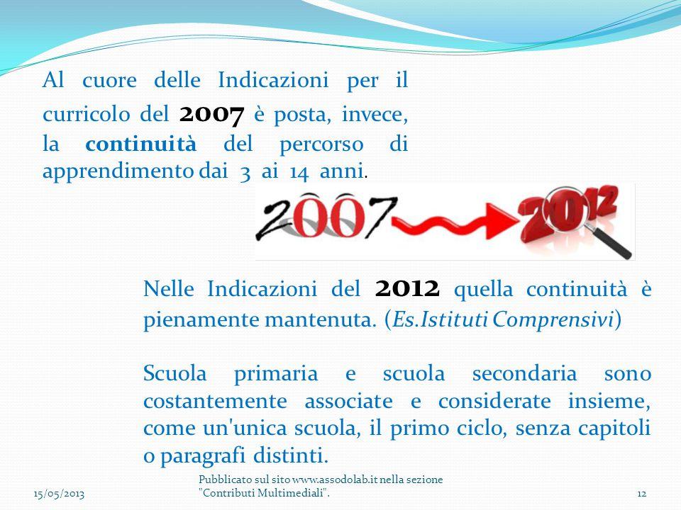 Al cuore delle Indicazioni per il curricolo del 2007 è posta, invece, la continuità del percorso di apprendimento dai 3 ai 14 anni.