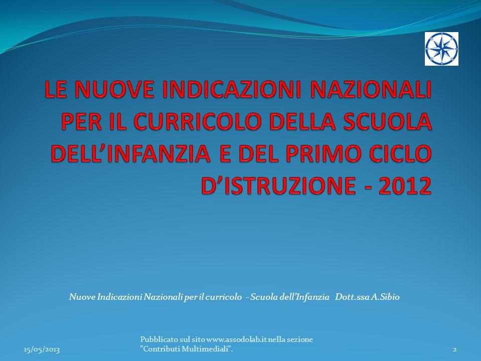 LE NUOVE INDICAZIONI NAZIONALI PER IL CURRICOLO DELLA SCUOLA DELL'INFANZIA E DEL PRIMO CICLO D'ISTRUZIONE - 2012