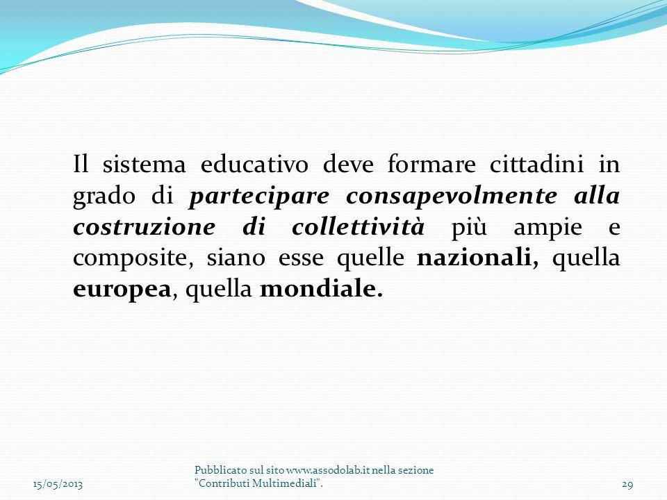 Il sistema educativo deve formare cittadini in grado di partecipare consapevolmente alla costruzione di collettività più ampie e composite, siano esse quelle nazionali, quella europea, quella mondiale.
