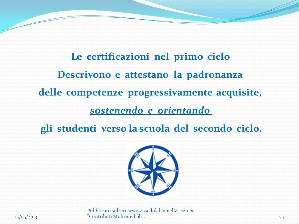 Le certificazioni nel primo ciclo Descrivono e attestano la padronanza