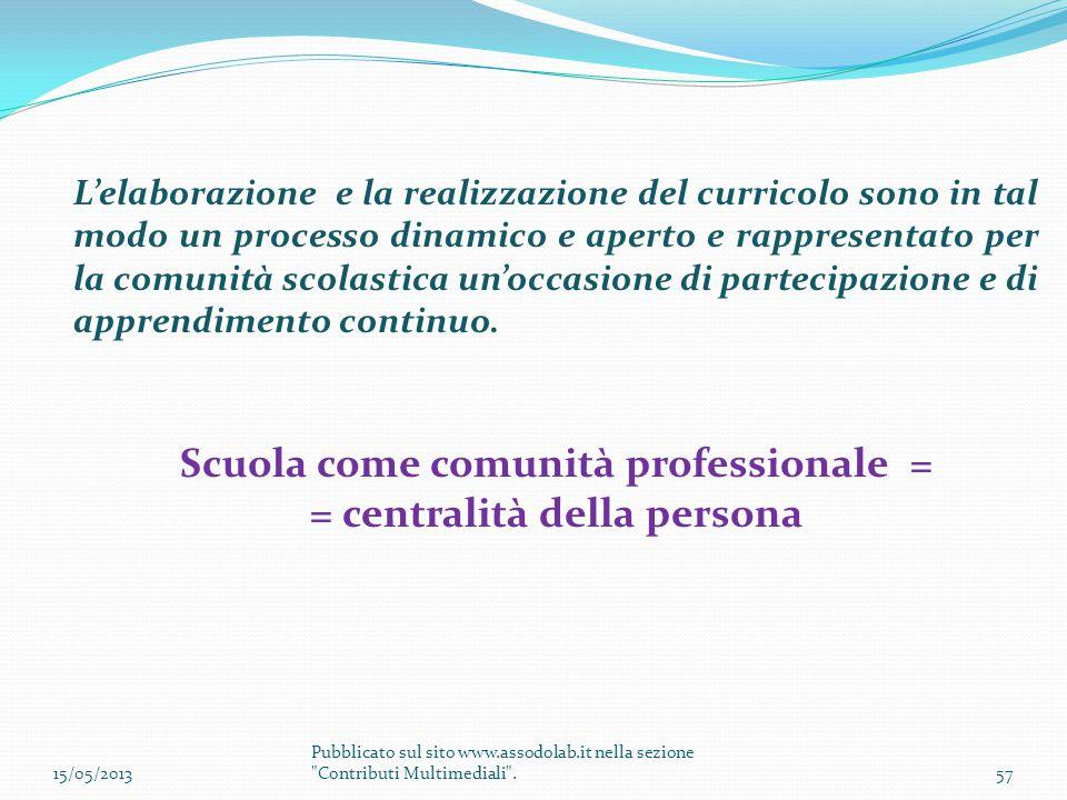 Scuola come comunità professionale = = centralità della persona