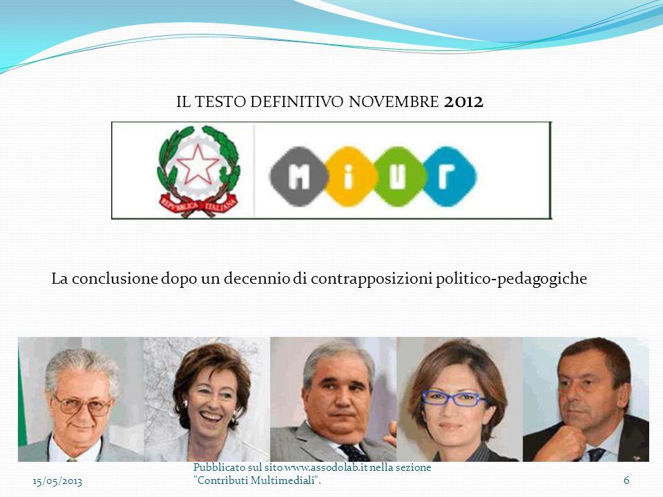 IL TESTO DEFINITIVO NOVEMBRE 2012