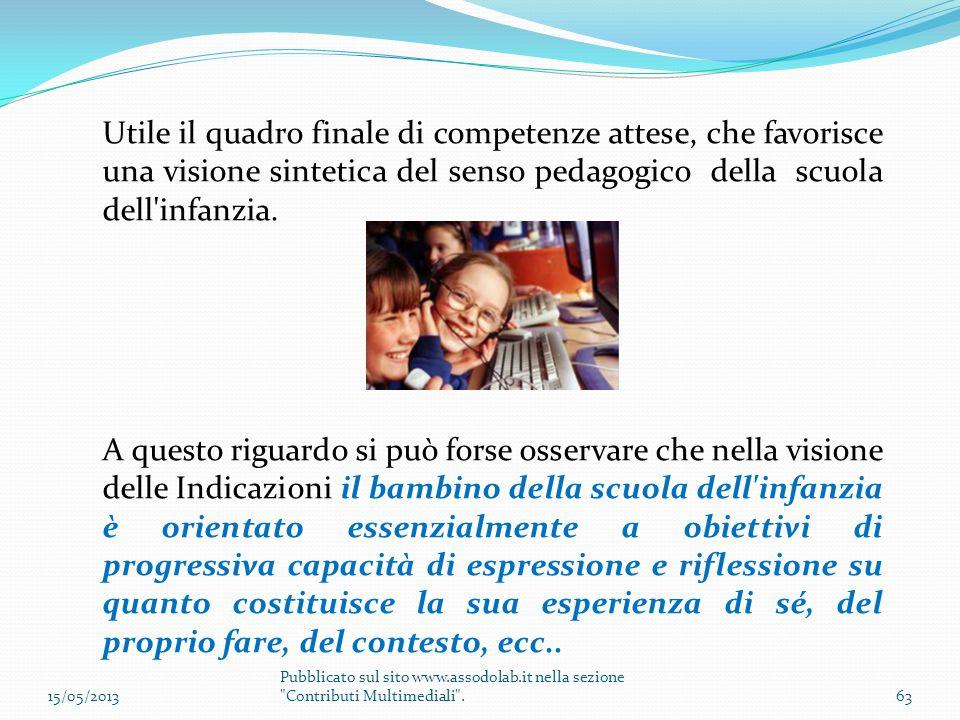 Utile il quadro finale di competenze attese, che favorisce una visione sintetica del senso pedagogico della scuola dell infanzia.