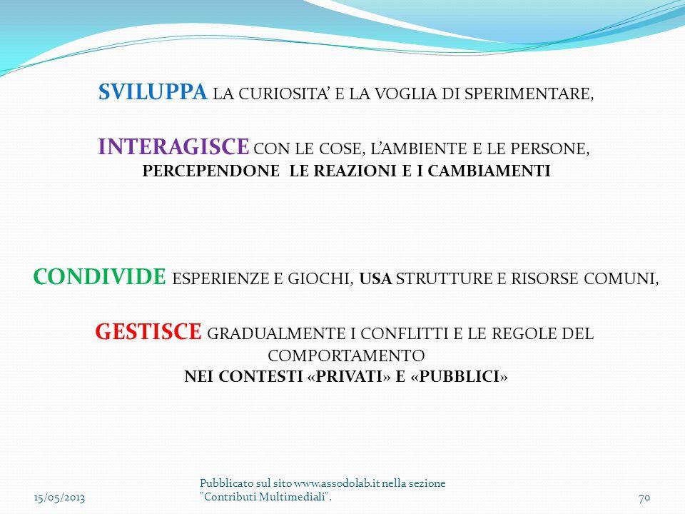 SVILUPPA LA CURIOSITA' E LA VOGLIA DI SPERIMENTARE,