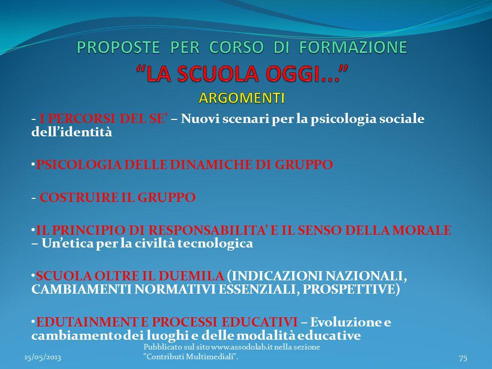 PROPOSTE PER CORSO DI FORMAZIONE LA SCUOLA OGGI... ARGOMENTI