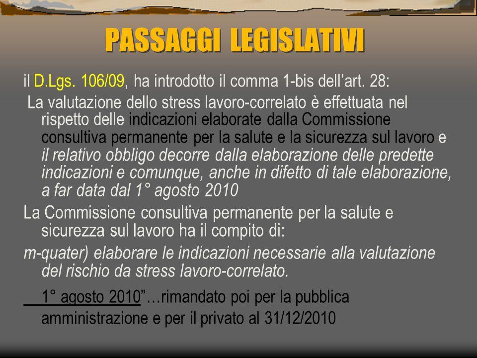 PASSAGGI LEGISLATIVI il D.Lgs. 106/09, ha introdotto il comma 1-bis dell'art. 28: