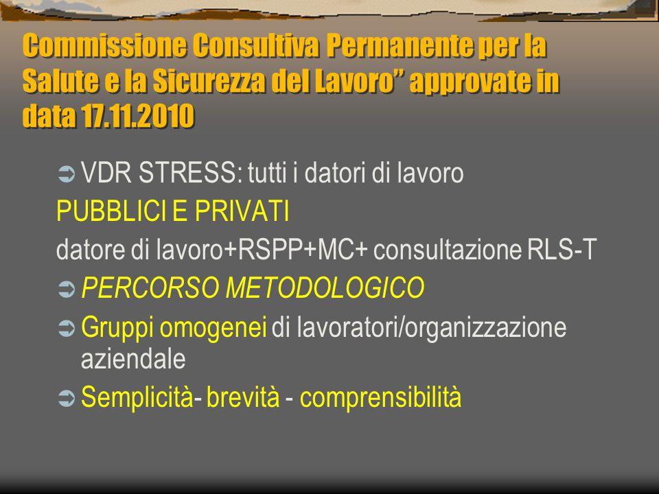 Commissione Consultiva Permanente per la Salute e la Sicurezza del Lavoro approvate in data 17.11.2010