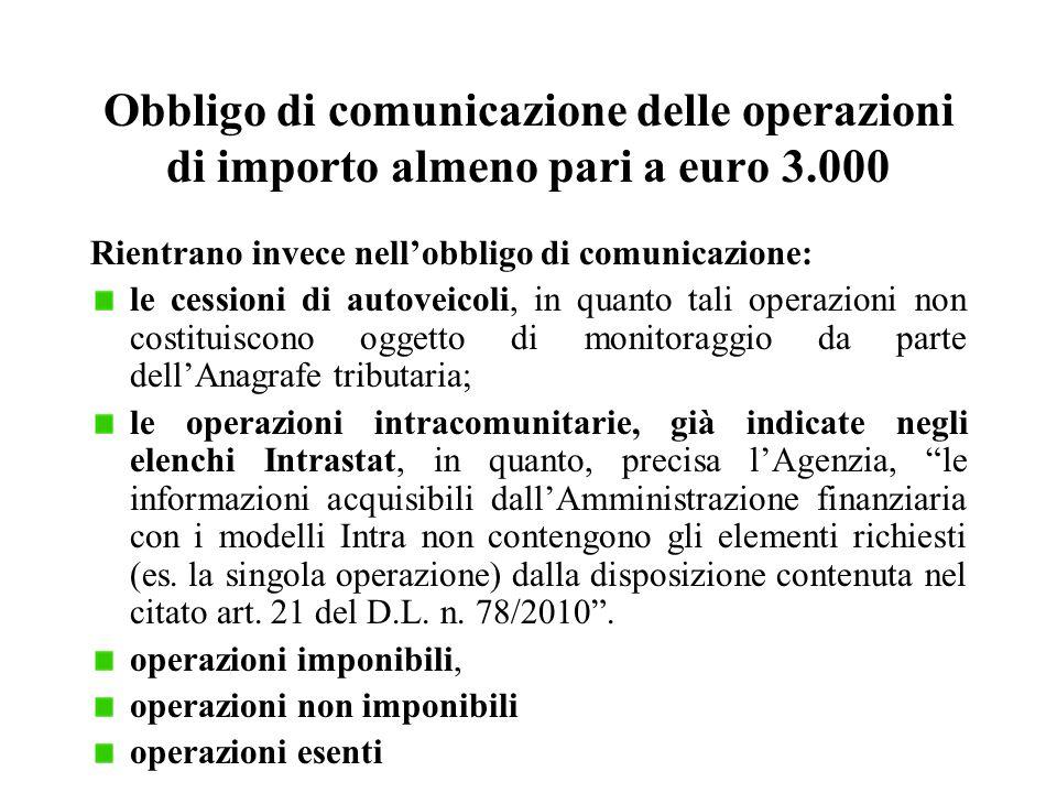 Obbligo di comunicazione delle operazioni di importo almeno pari a euro 3.000